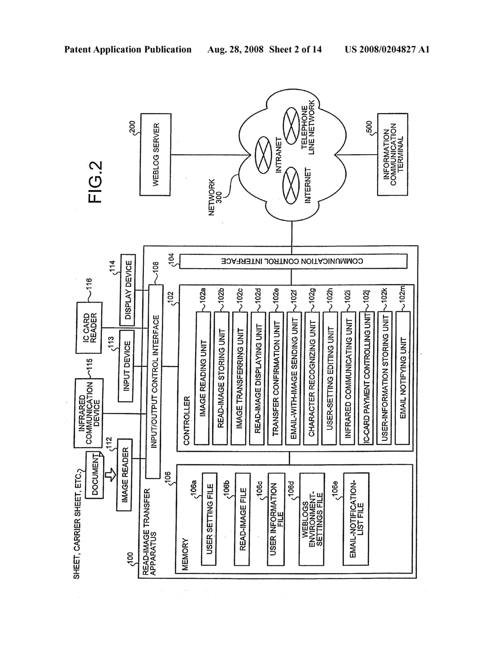 READ-IMAGE TRANSFER APPARATUS AND METHOD, READ-IMAGE TRANSFER SYSTEM, COMPUTER PROGRAM SHEET, AND CARRIER SHEET - diagram, schematic, and image 03