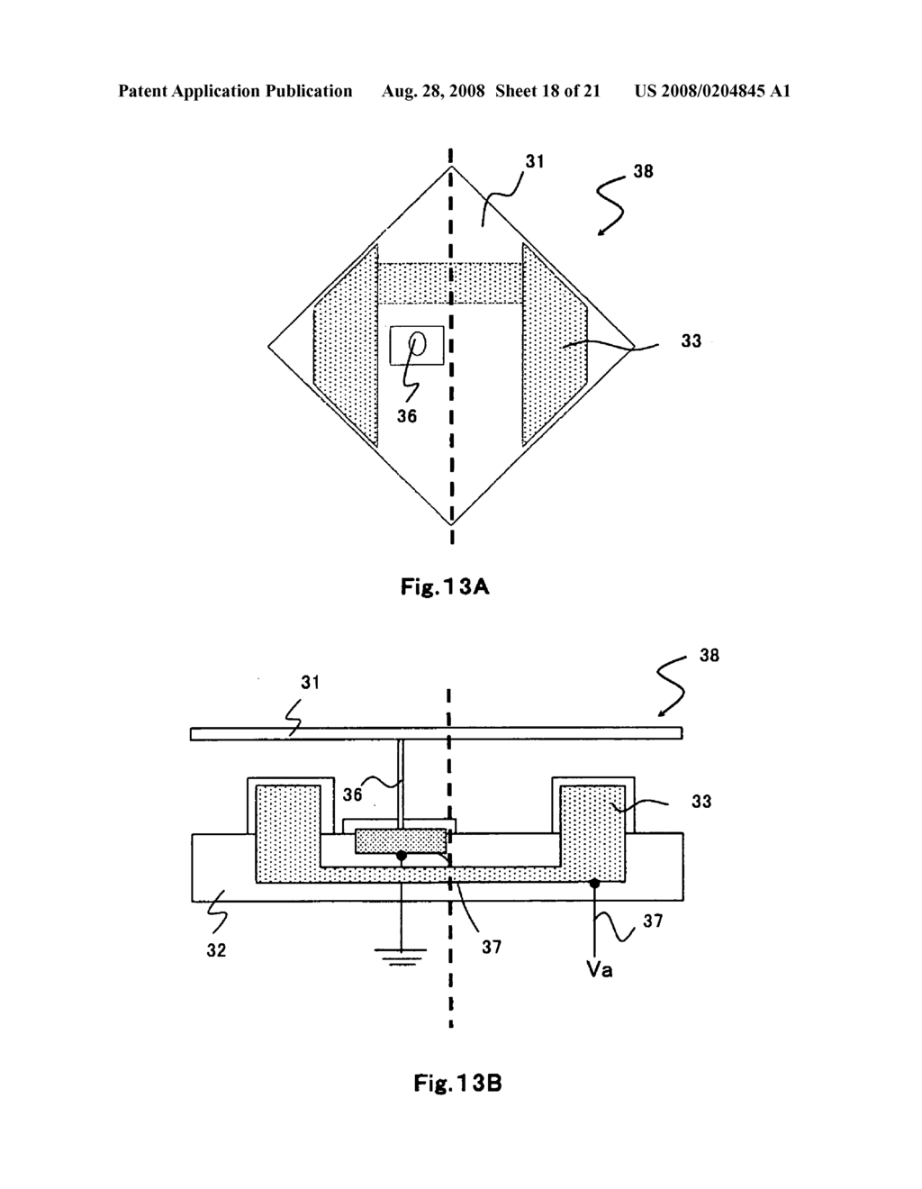 Micromirror device with a single address electrode - diagram, schematic, and image 19