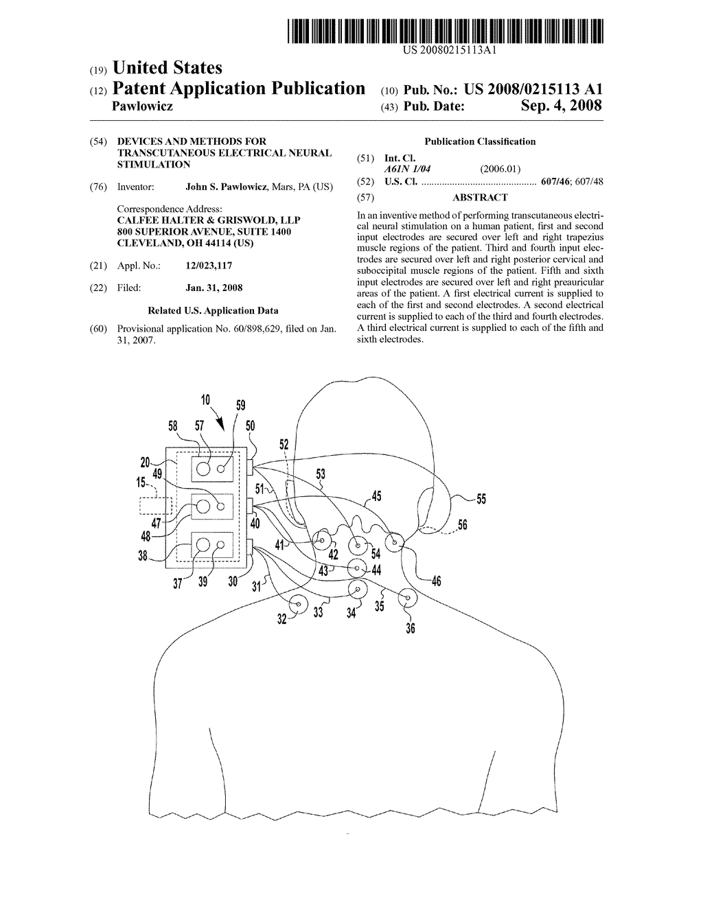 DEVICES AND METHODS FOR TRANSCUTANEOUS ELECTRICAL NEURAL STIMULATION - diagram, schematic, and image 01