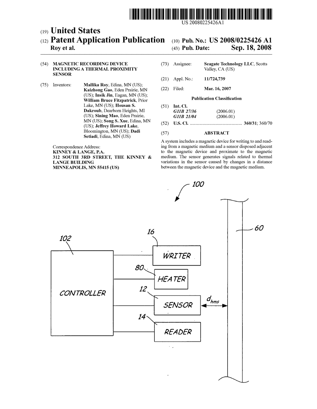Magnetic recording device including a thermal proximity sensor - diagram, schematic, and image 01