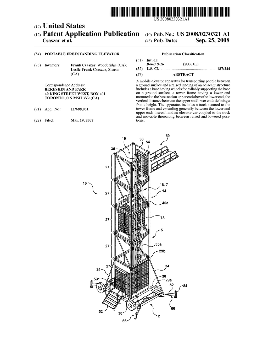 PORTABLE FREESTANDING ELEVATOR - diagram, schematic, and image 01