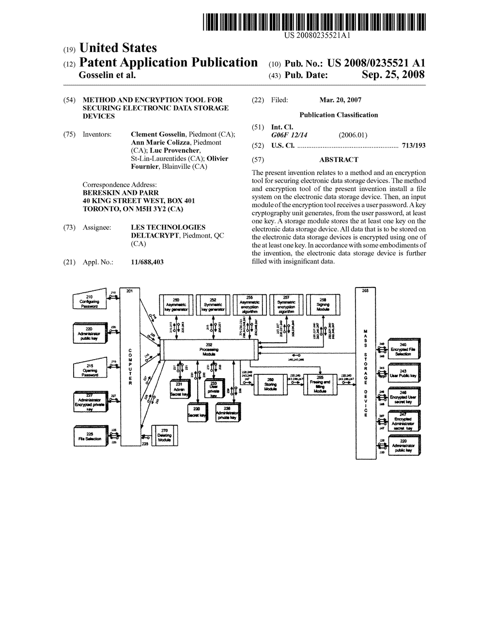 METHOD AND ENCRYPTION TOOL FOR SECURING ELECTRONIC DATA STORAGE DEVICES - diagram, schematic, and image 01