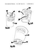 Popcorn containers with individual-use, moist towelette packages semi-permanently affixed to their surfaces, though easily removed for use, for providing users with a means of personal hygiene inherent within each container diagram and image