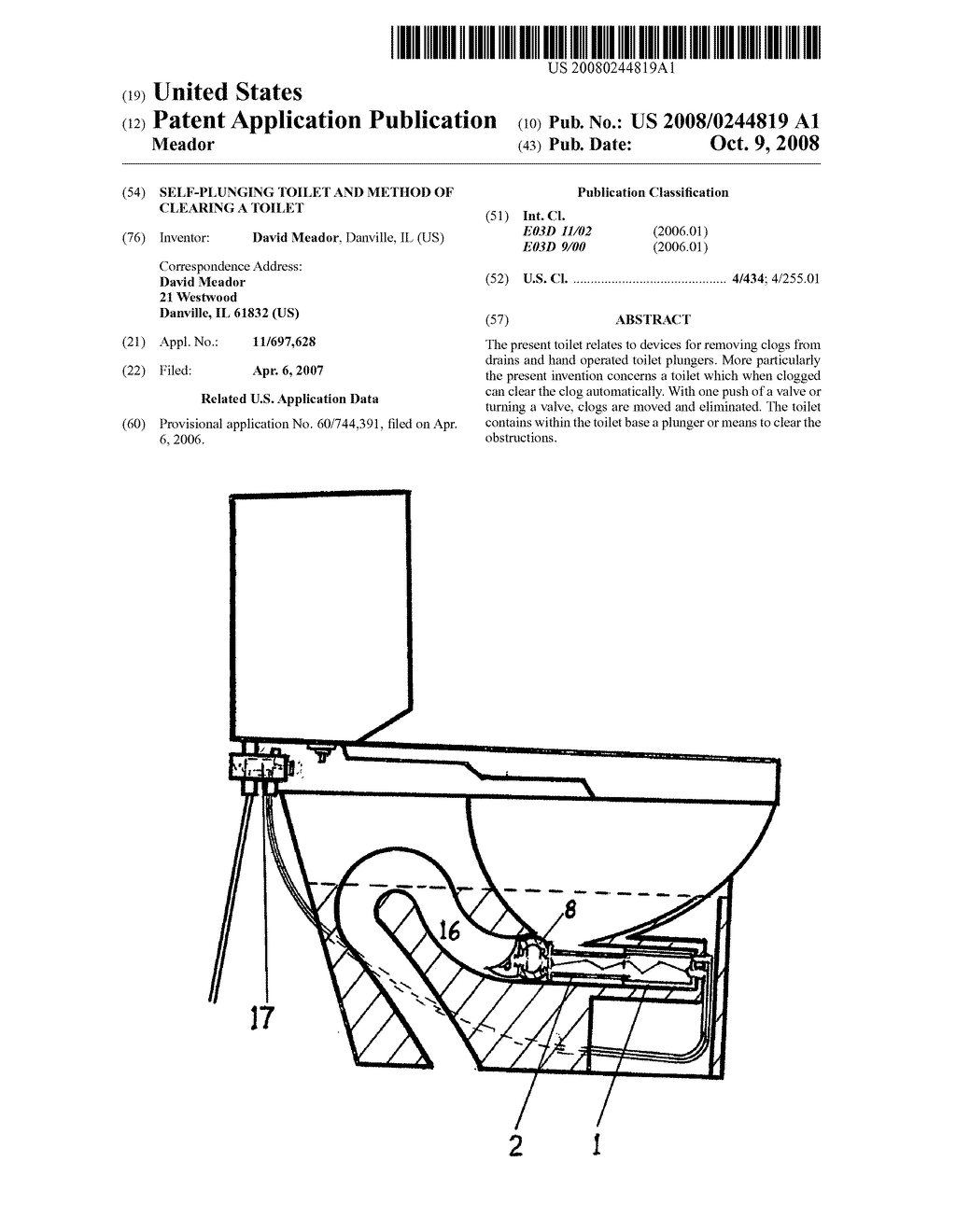SELF-PLUNGING TOILET AND METHOD OF CLEARING A TOILET - diagram, schematic, and image 01