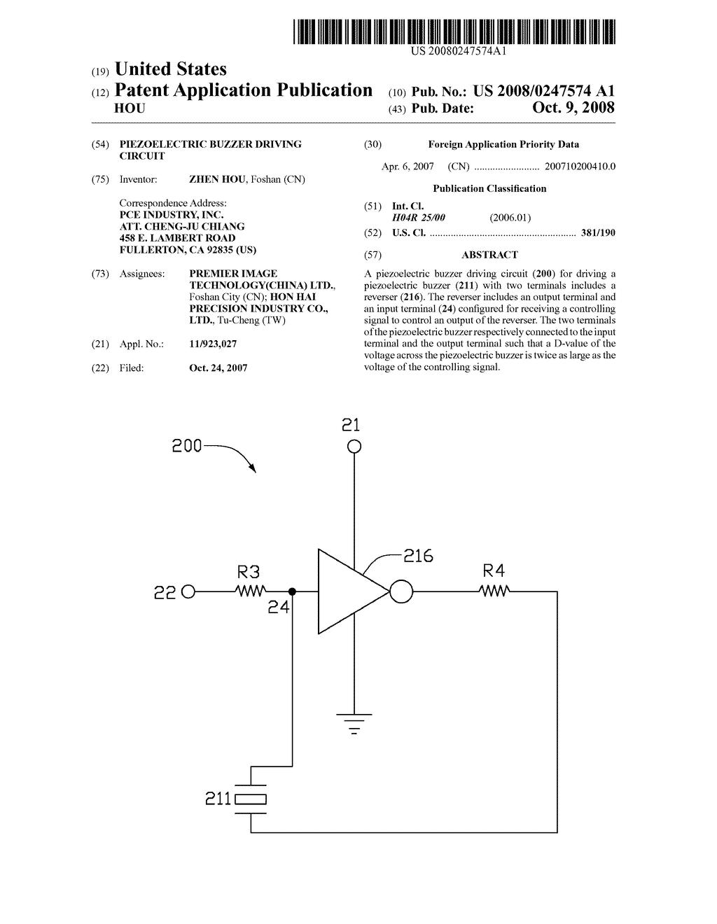 PIEZOELECTRIC BUZZER DRIVING CIRCUIT - diagram, schematic, and image 01