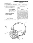 Sports helmet with quick-release faceguard connector and adjustable internal pad element diagram and image