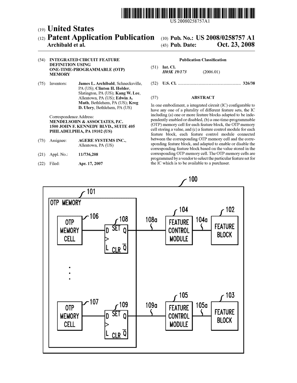 Integrated Circuit Feature Definition Using One Time Programmable Popular Otp Memory Diagram Schematic And Image 01