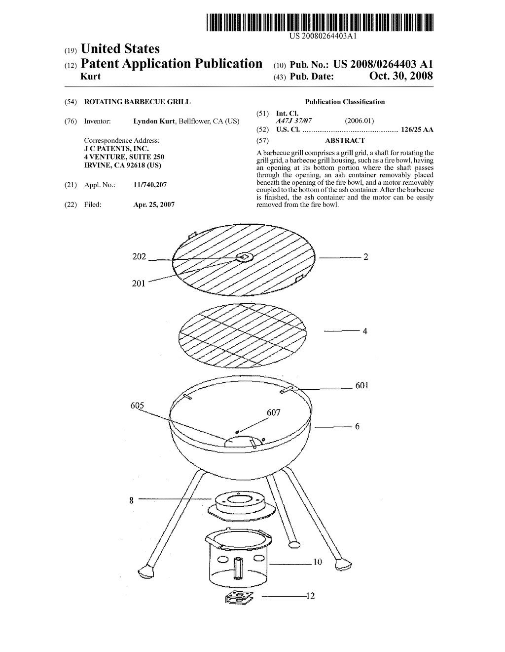 ROTATING BARBECUE GRILL - diagram, schematic, and image 01