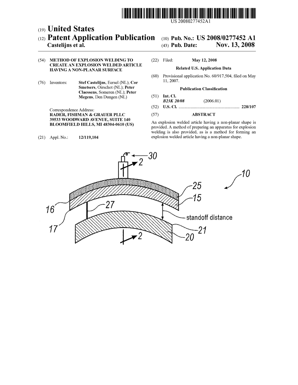 METHOD OF EXPLOSION WELDING TO CREATE AN EXPLOSION WELDED ARTICLE HAVING A  NON-PLANAR SURFACE - diagram, schematic, and image 01