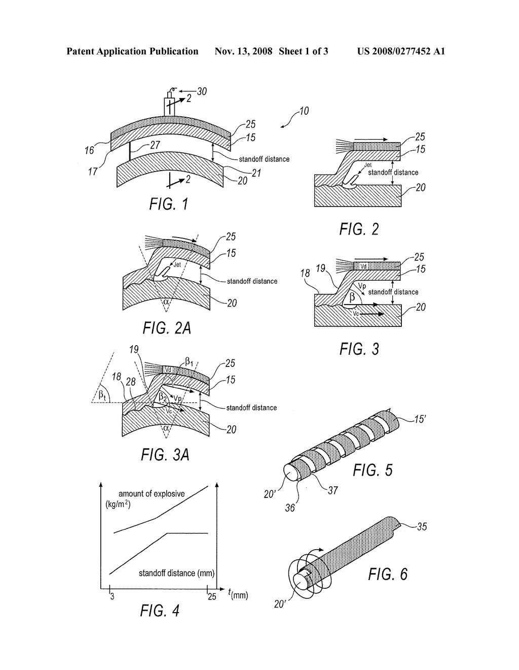 METHOD OF EXPLOSION WELDING TO CREATE AN EXPLOSION WELDED ARTICLE HAVING A  NON-PLANAR SURFACE - diagram, schematic, and image 02