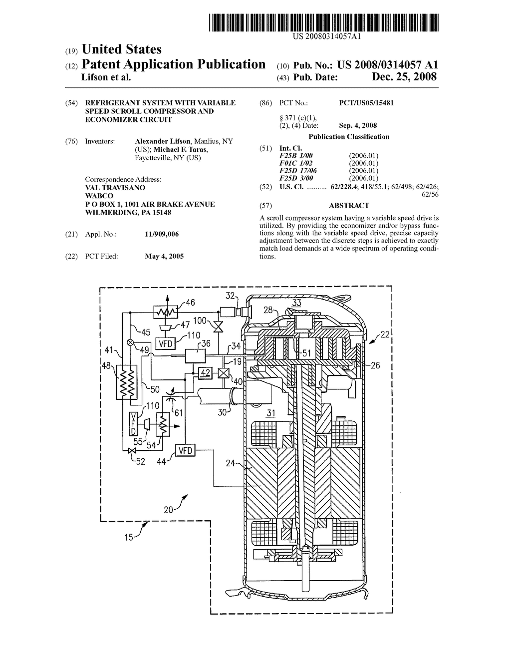 Refrigerant System With Variable Speed Scroll Compressor and Economizer  Circuit - diagram, schematic, and image 01