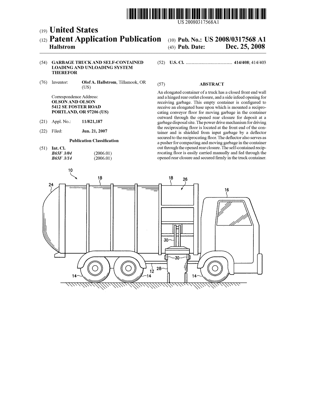 garbage truck and self-contained loading and unloading system therefor -  diagram, schematic, and image 01