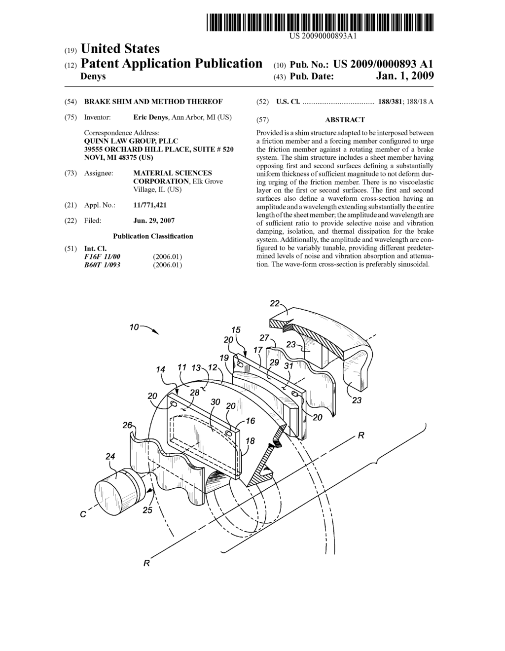 Brake Shim and Method Thereof - diagram, schematic, and image 01