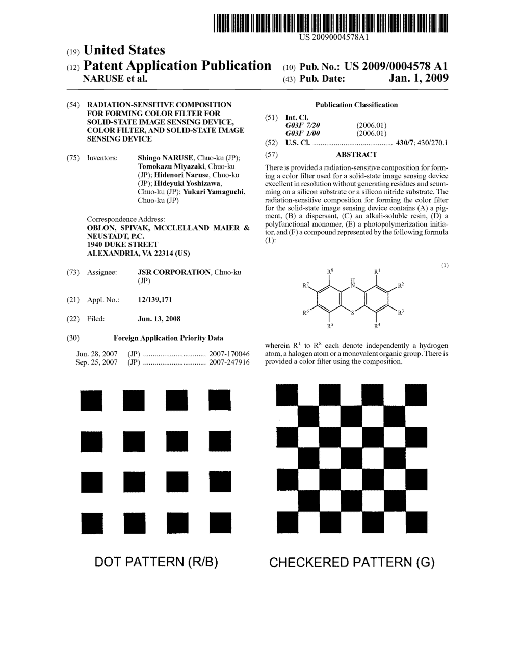 RADIATION-SENSITIVE COMPOSITION FOR FORMING COLOR FILTER FOR SOLID-STATE IMAGE SENSING DEVICE, COLOR FILTER, AND SOLID-STATE IMAGE SENSING DEVICE - diagram, schematic, and image 01