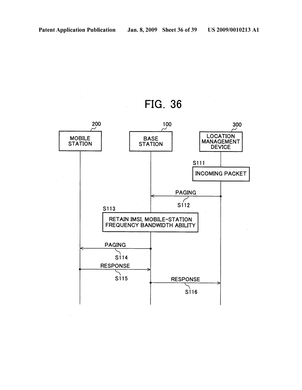 Mobile Station Device, Base Station Device, Mobile Station Device Operating Frequency Band Mapping Method, Location Management Device, Mobile Station Device Location Registration Method, Paging Method, and Program for Executing the Same and Recording Medium - diagram, schematic, and image 37