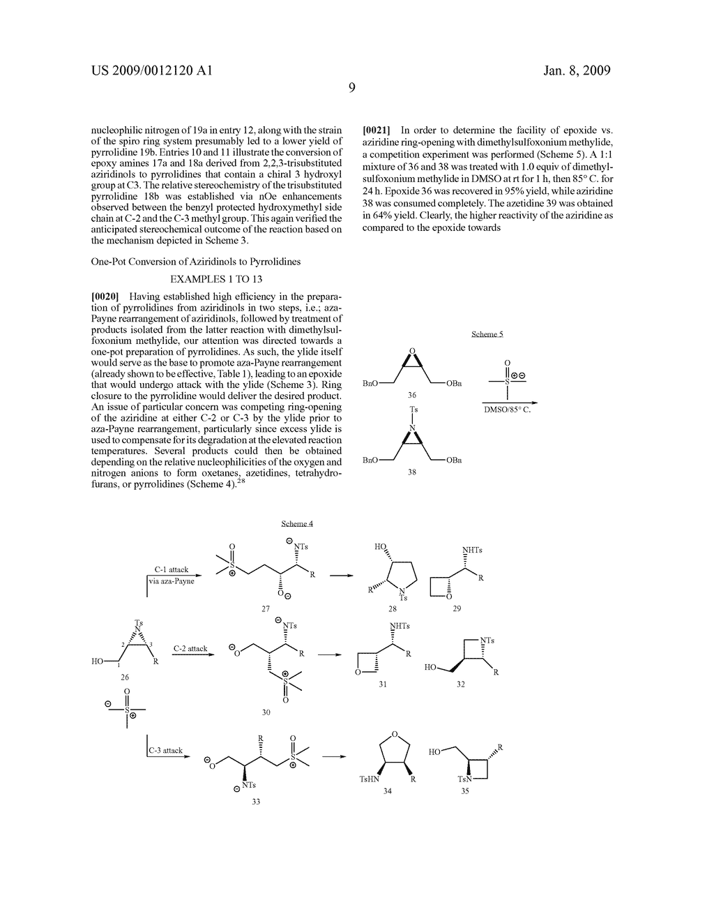 Synthesis of N-heterocycles, beta-amino acids, and allyl amines via aza-payne mediated reaction of ylides and hydroxy aziridines - diagram, schematic, and image 12