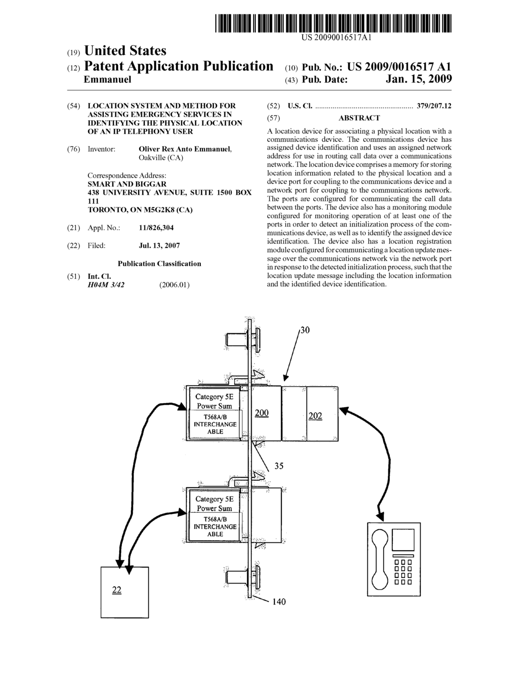 Location system and method for assisting emergency services in identifying the physical location of an IP telephony user - diagram, schematic, and image 01