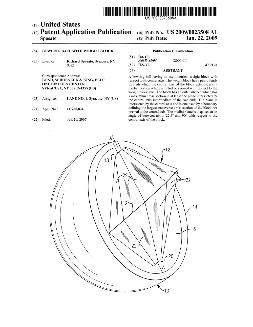 Bowling Ball With Weight Block - diagram, schematic, and image 01