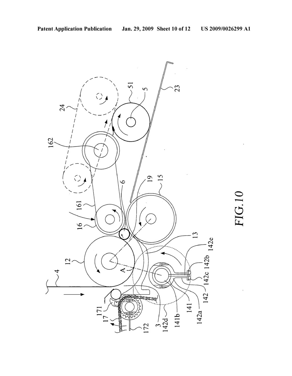 Web separator with reverse rotation mechanism for tissue