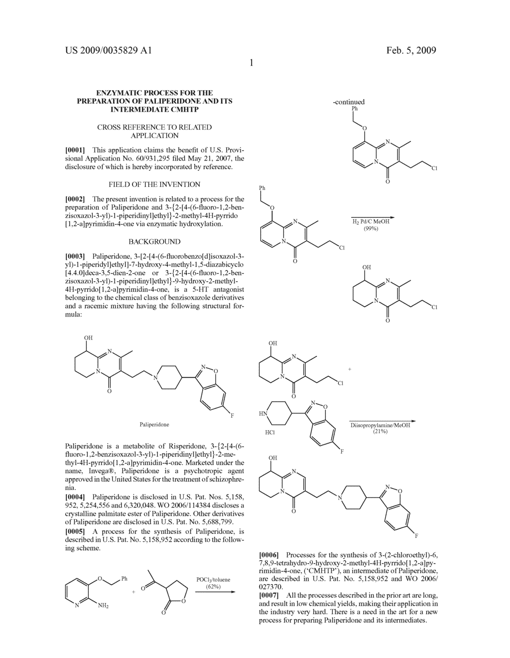 Enzymatic process for the preparation of paliperidone and its intermediate CMHTP - diagram, schematic, and image 02