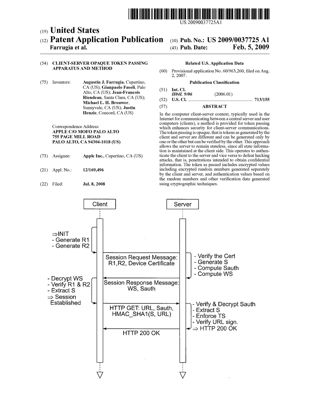 CLIENT-SERVER OPAQUE TOKEN PASSING APPARATUS AND METHOD - diagram, schematic, and image 01
