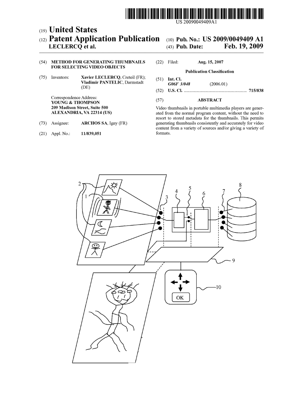 METHOD FOR GENERATING THUMBNAILS FOR SELECTING VIDEO OBJECTS - diagram, schematic, and image 01