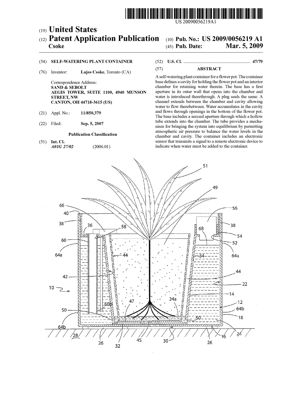 SELF-WATERING PLANT CONTAINER - diagram, schematic, and image 01