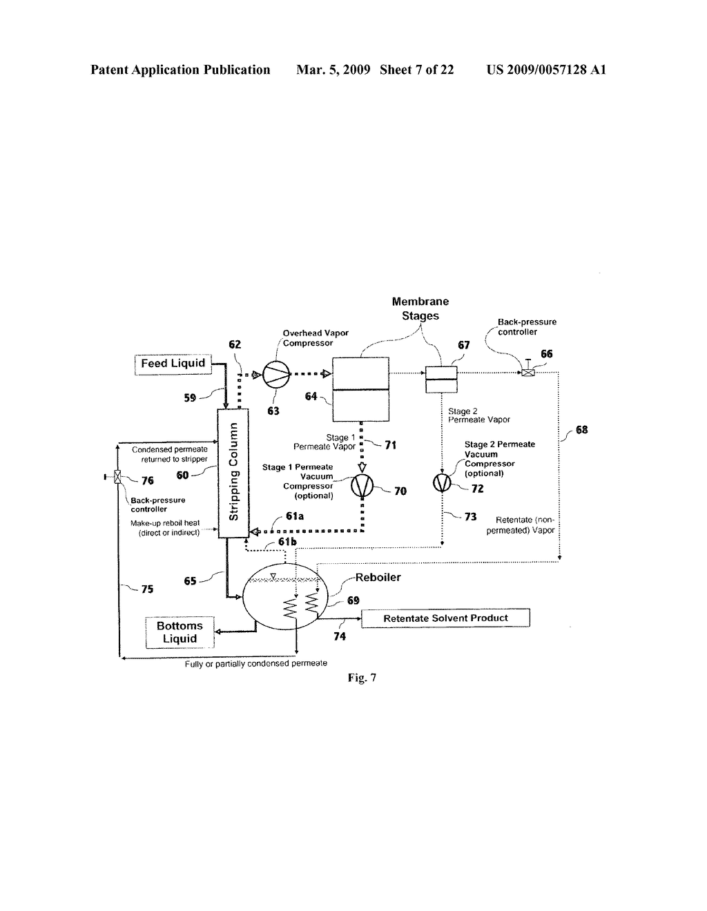 Liquid separation by membrane assisted vapor stripping process - diagram, schematic, and image 08