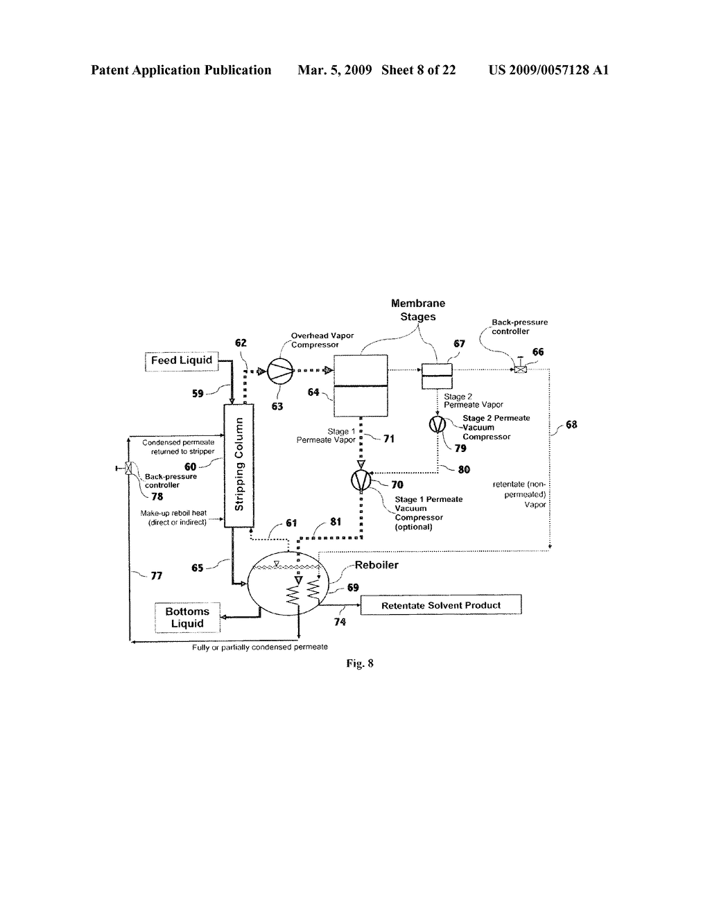 Liquid separation by membrane assisted vapor stripping process - diagram, schematic, and image 09