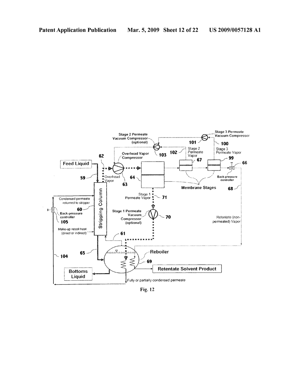 Liquid separation by membrane assisted vapor stripping process - diagram, schematic, and image 13