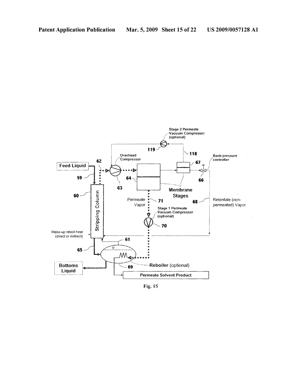 Liquid separation by membrane assisted vapor stripping process - diagram, schematic, and image 16