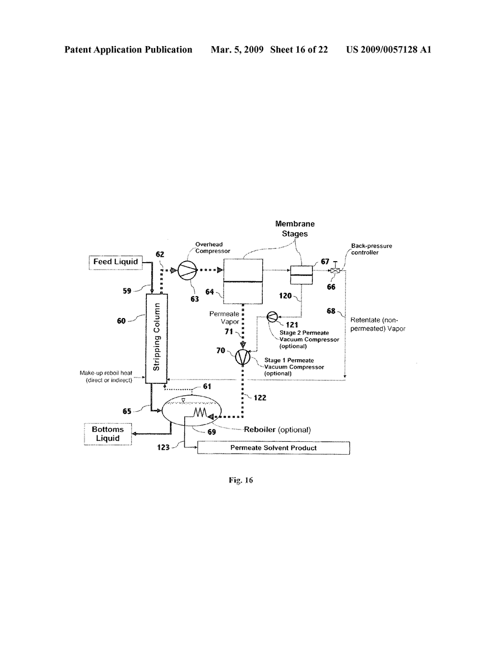 Liquid separation by membrane assisted vapor stripping process - diagram, schematic, and image 17