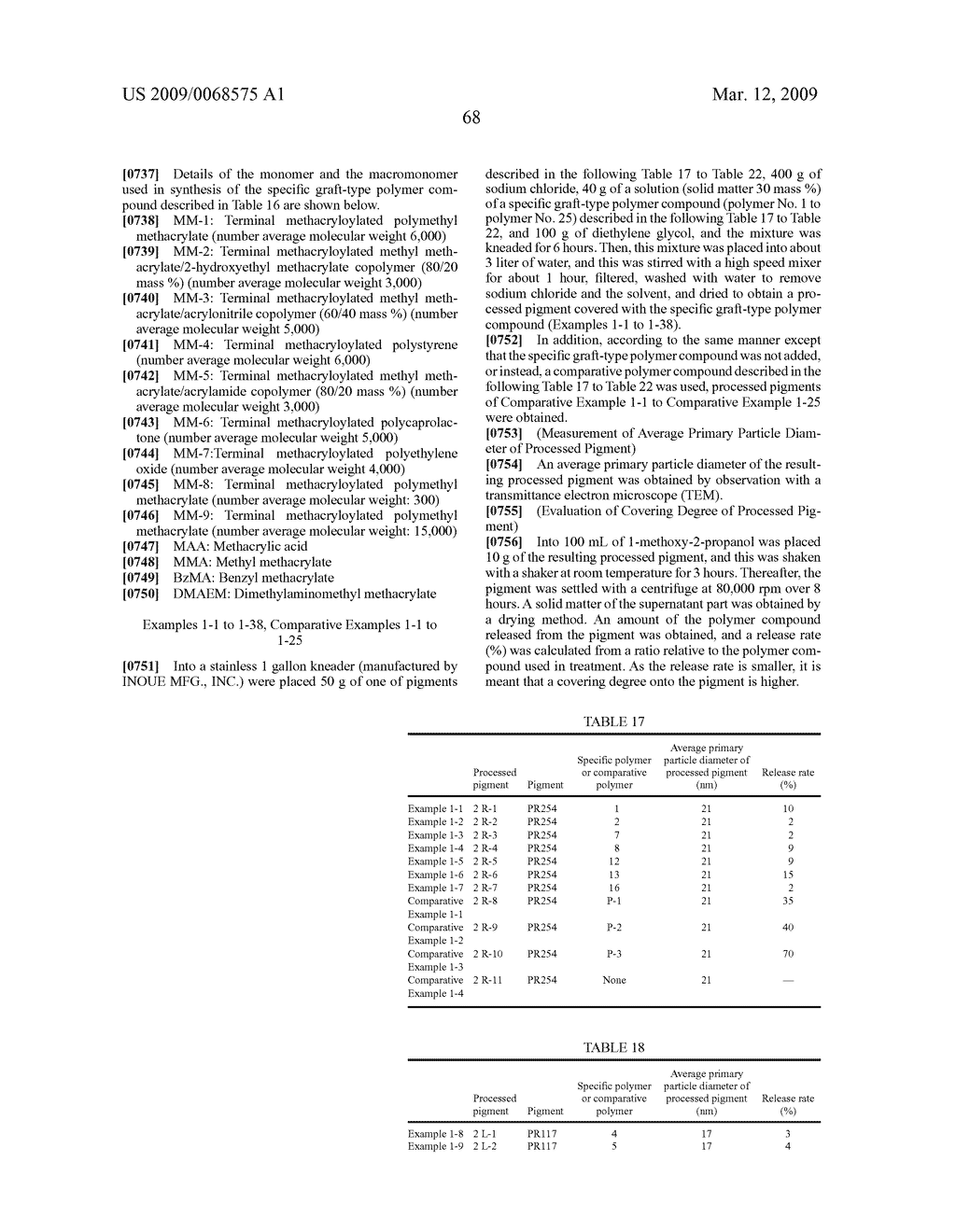 PROCESSED PIGMENT, PIGMENT-DISPERSED COMPOSITION, COLORED PHOTOSENSITIVE COMPOSITION, COLOR FILTER, LIQUID CRYSTAL DISPLAY ELEMENT, AND SOLID IMAGE PICKUP ELEMENT - diagram, schematic, and image 69
