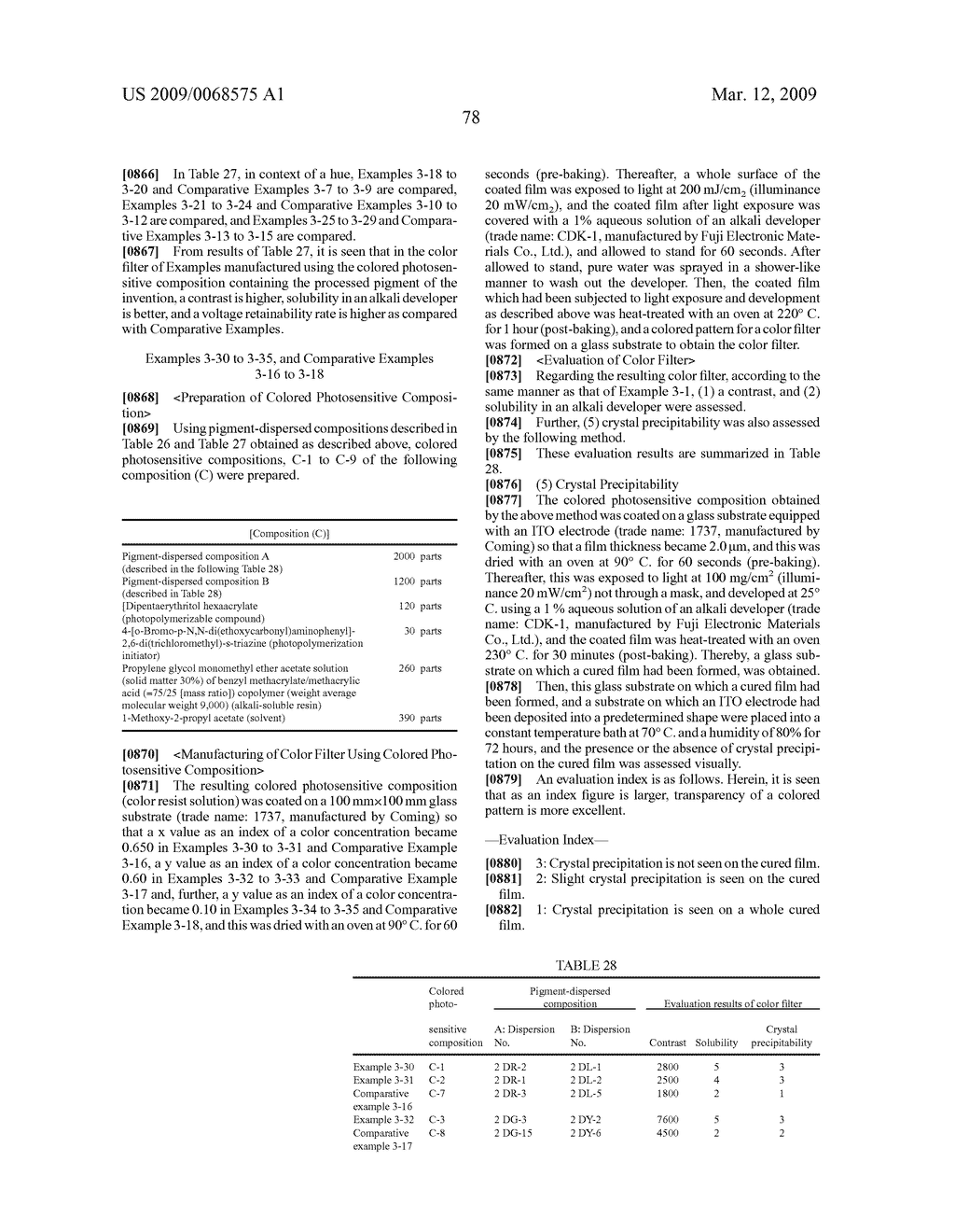 PROCESSED PIGMENT, PIGMENT-DISPERSED COMPOSITION, COLORED PHOTOSENSITIVE COMPOSITION, COLOR FILTER, LIQUID CRYSTAL DISPLAY ELEMENT, AND SOLID IMAGE PICKUP ELEMENT - diagram, schematic, and image 79