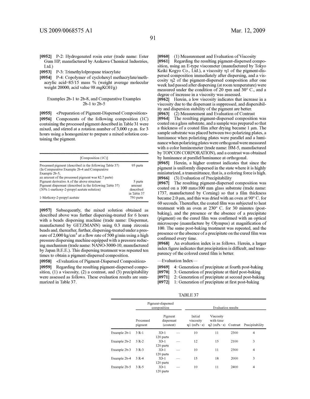 PROCESSED PIGMENT, PIGMENT-DISPERSED COMPOSITION, COLORED PHOTOSENSITIVE COMPOSITION, COLOR FILTER, LIQUID CRYSTAL DISPLAY ELEMENT, AND SOLID IMAGE PICKUP ELEMENT - diagram, schematic, and image 92