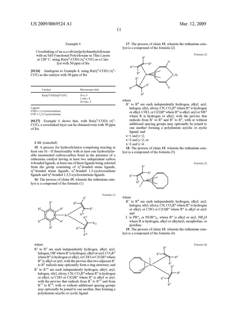 HYDROSILYLATION PROCESS IN THE PRESENCE OF RUTHENIUM CATALYZERS - diagram, schematic, and image 12