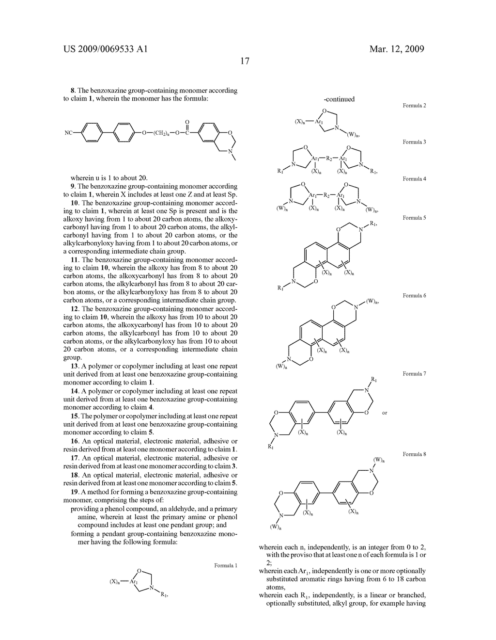 Benzoxazine monomers, polymers and compositions - diagram, schematic, and image 19