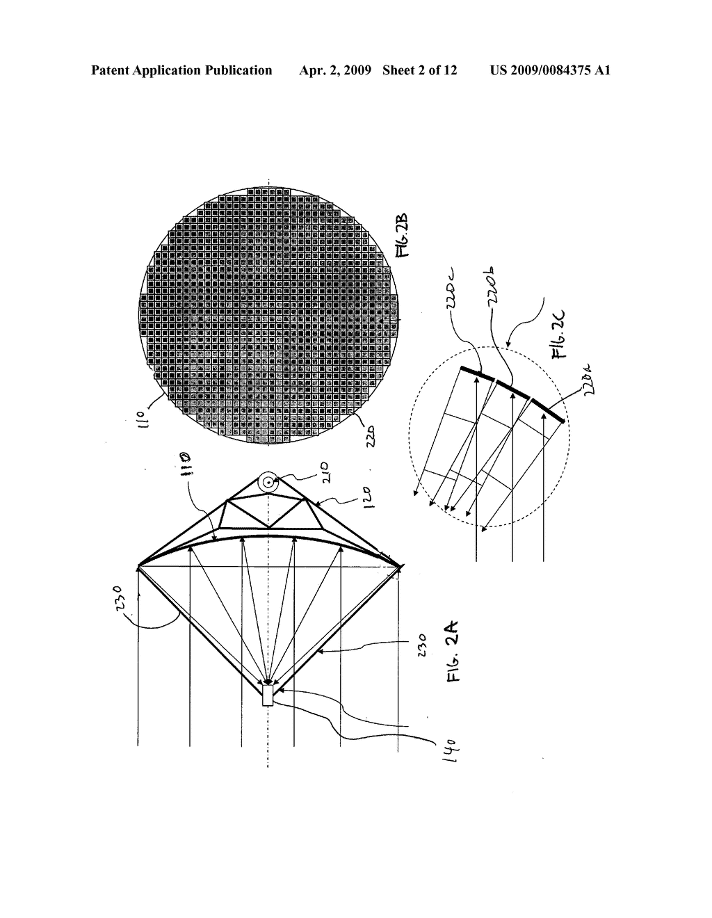Aligned multiple flat mirror reflector array for concentrating sunlight onto a solar cell - diagram, schematic, and image 03