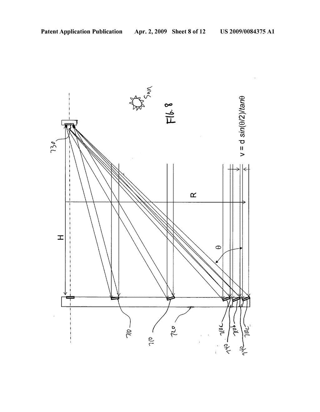 Aligned multiple flat mirror reflector array for concentrating sunlight onto a solar cell - diagram, schematic, and image 09
