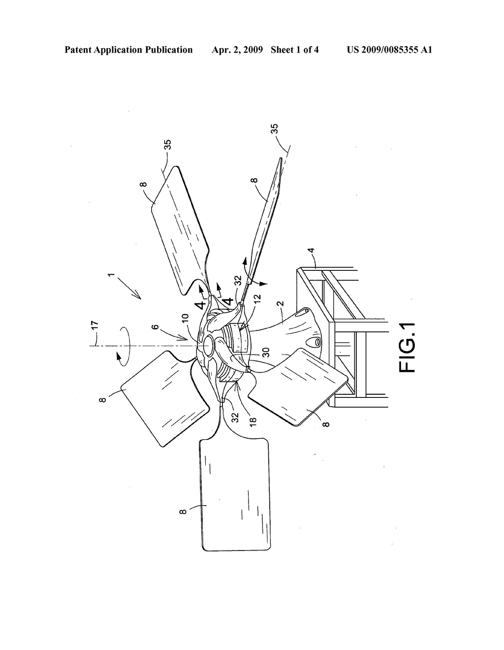 Self-acting variable pitch vertical axis wind turbine - diagram