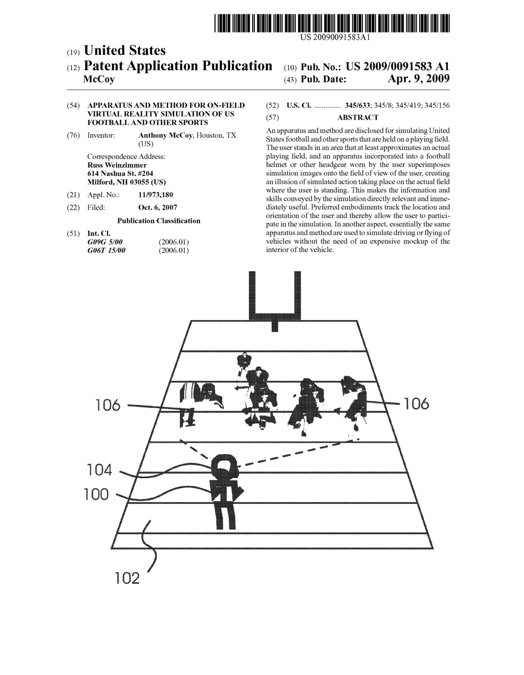 Apparatus and method for on-field virtual reality simulation of US football and other sports - diagram, schematic, and image 01