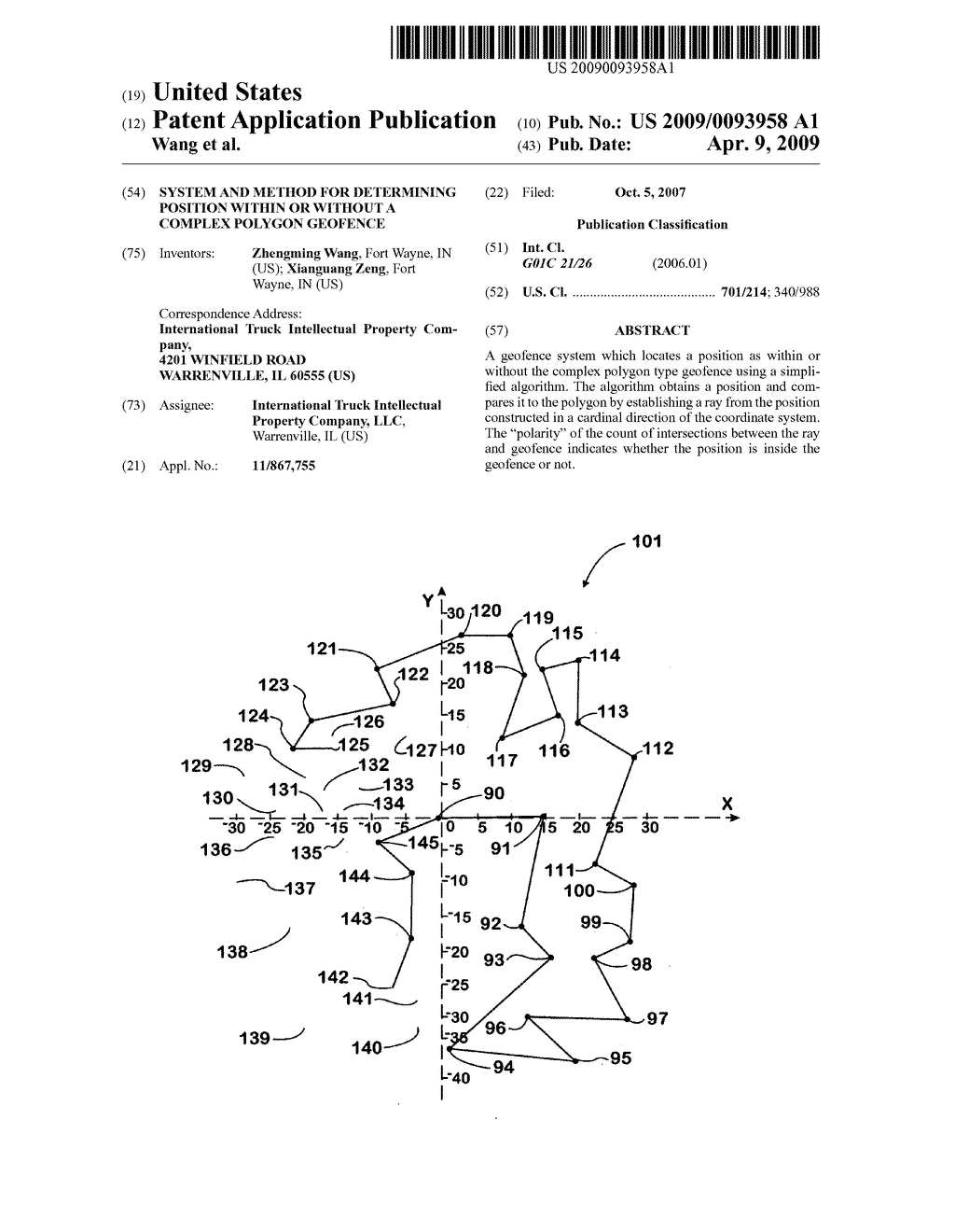 SYSTEM AND METHOD FOR DETERMINING POSITION WITHIN OR WITHOUT A COMPLEX POLYGON GEOFENCE - diagram, schematic, and image 01