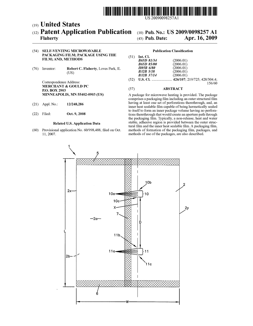 SELF-VENTING MICROWAVABLE PACKAGING FILM; PACKAGE USING THE FILM; AND, METHODS - diagram, schematic, and image 01