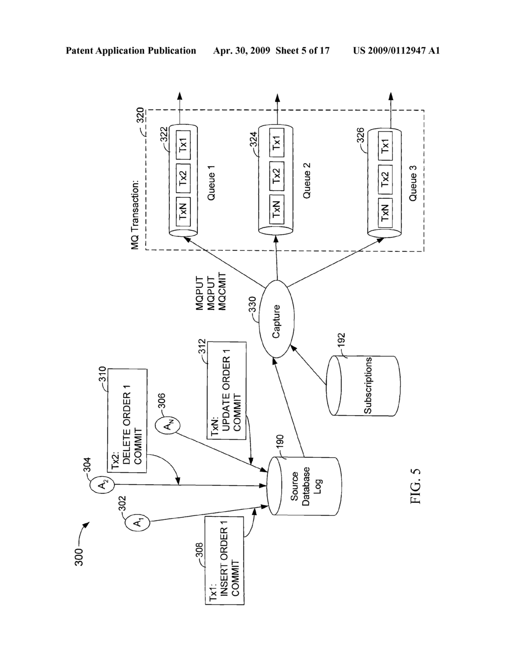 Database Log Capture that Publishes Transactions to Multiple Targets to Handle Unavailable Targets by Separating the Publishing of Subscriptions and Subsequently Recombining the Publishing - diagram, schematic, and image 06