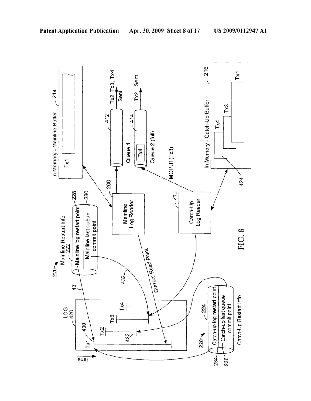 Database Log Capture that Publishes Transactions to Multiple Targets to Handle Unavailable Targets by Separating the Publishing of Subscriptions and Subsequently Recombining the Publishing - diagram, schematic, and image 09