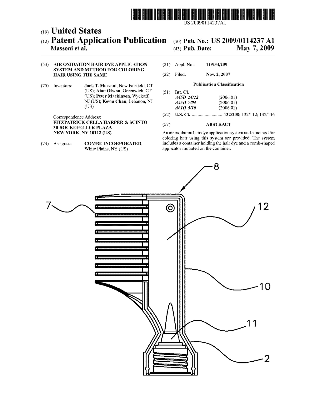 AIR OXIDATION HAIR DYE APPLICATION SYSTEM AND METHOD FOR COLORING HAIR USING THE SAME - diagram, schematic, and image 01