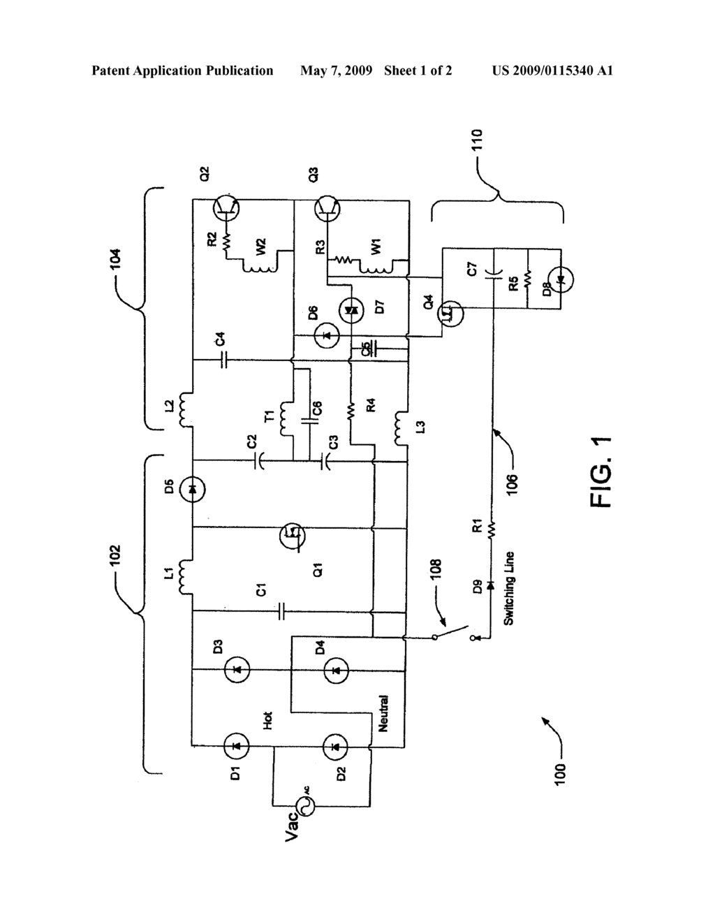 METHOD AND SYSTEM FOR ELIMINATING DC BIAS ON ELECTROLYTIC CAPACITORS AND SHUTDOWN DETECTING CIRCUIT FOR CURRENT FED BALLAST - diagram, schematic, and image 02