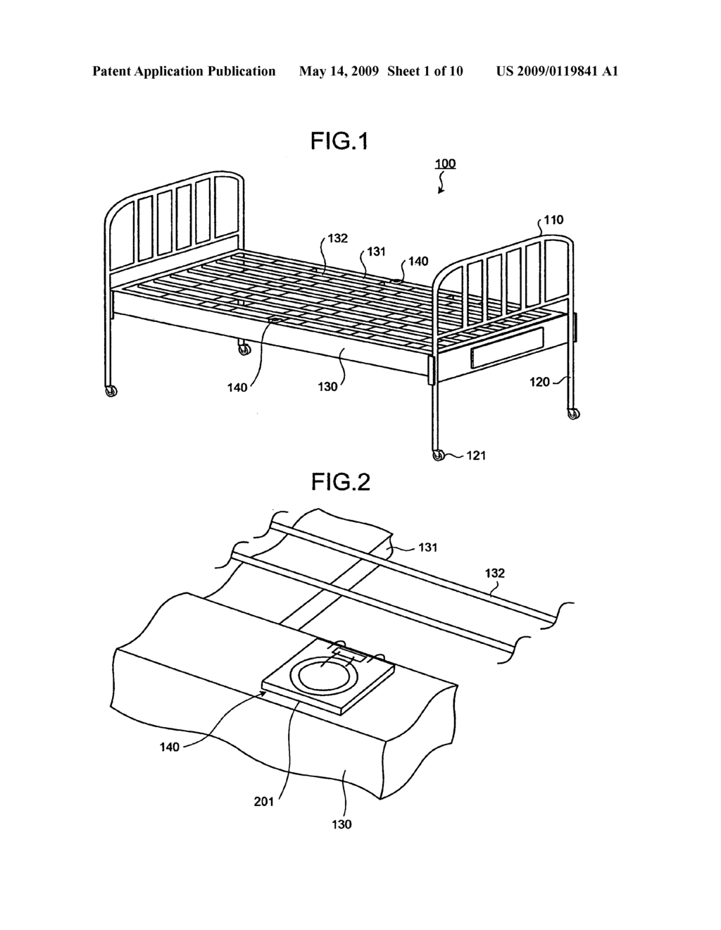 Bed apparatus and method of determining body movement - diagram, schematic, and image 02