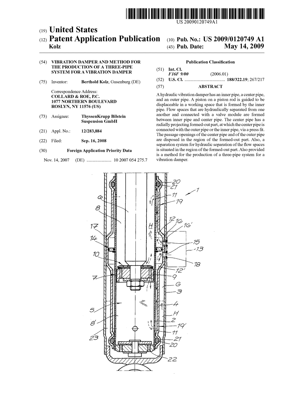 Vibration damper and method for the production of a three-pipe system for a vibration damper - diagram, schematic, and image 01