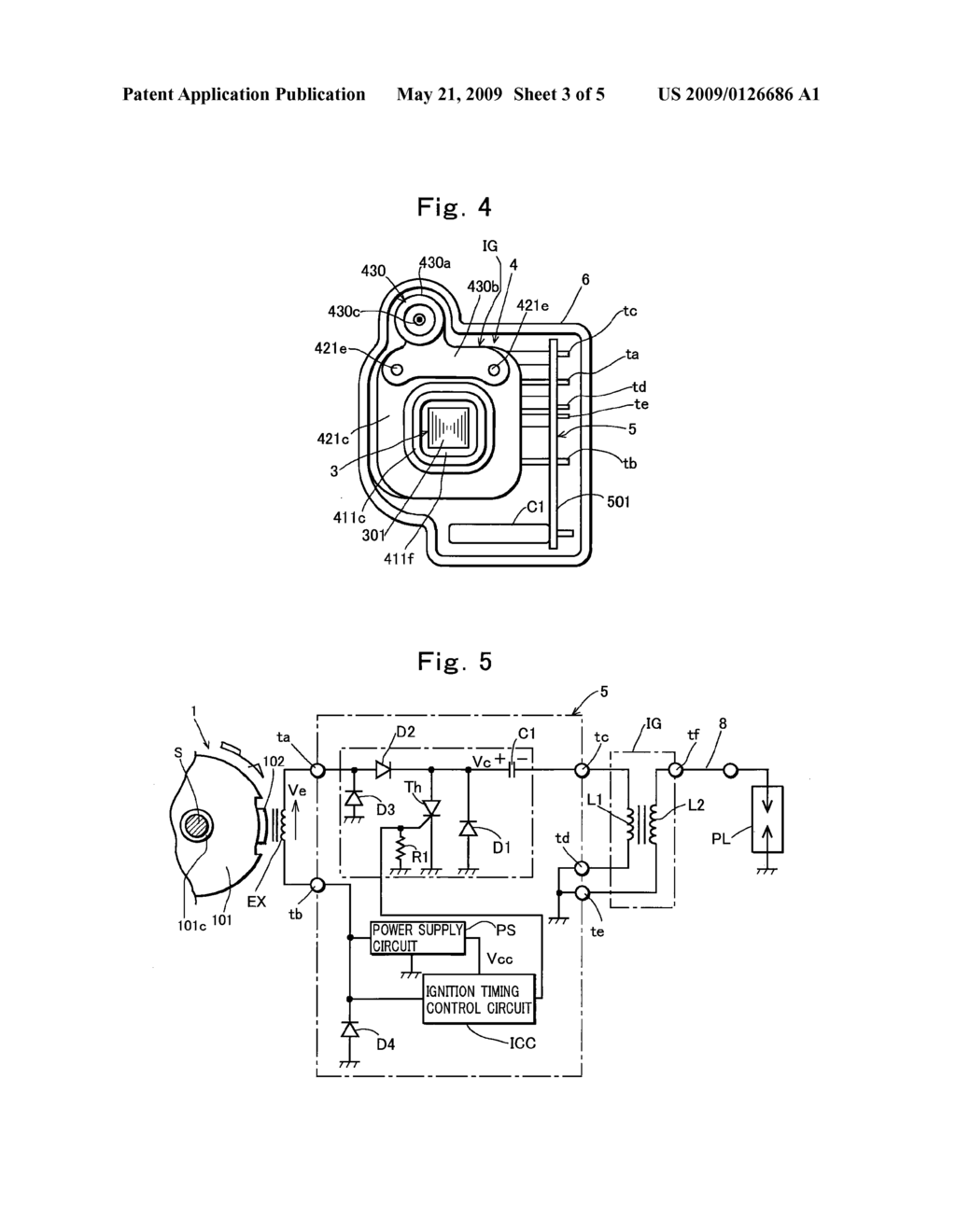 CAPACITOR DISCHARGE ENGINE IGNITION DEVICE - diagram, schematic, and image  04